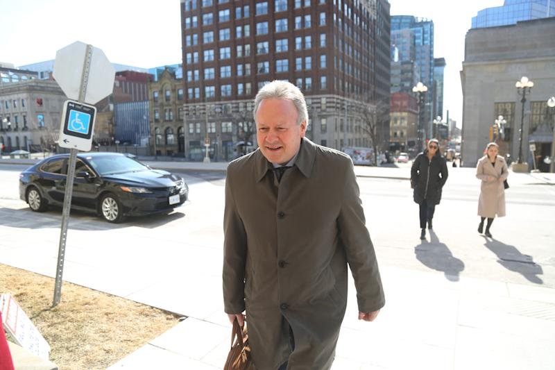 Bank of Canada Governor Stephen Poloz arrives for a news conference