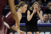 Missouri State head coach Kellie Harper directs her players during the first half of a regional semifinal game against the Stanford in the NCAA women's college basketball tournament, Saturday, March 30, 2019, in Chicago. (AP Photo/Nam Y. Huh)