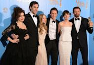 "Sacha Baron Cohen (2nd from L) appeared with (L-R) Helena Bonham Carter, Amanda Seyfried, Eddie Redmayne, Anne Hathaway and Hugh Jackman in the 2012 film adaptation of the musical ""Les Miserables"""
