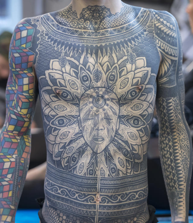<p>A man shows his full body tattoo at the London Tattoo convention at Tobacco Dock on September 23, 2017 in London, England. (Photo: James D. Morgan/Getty Images) </p>
