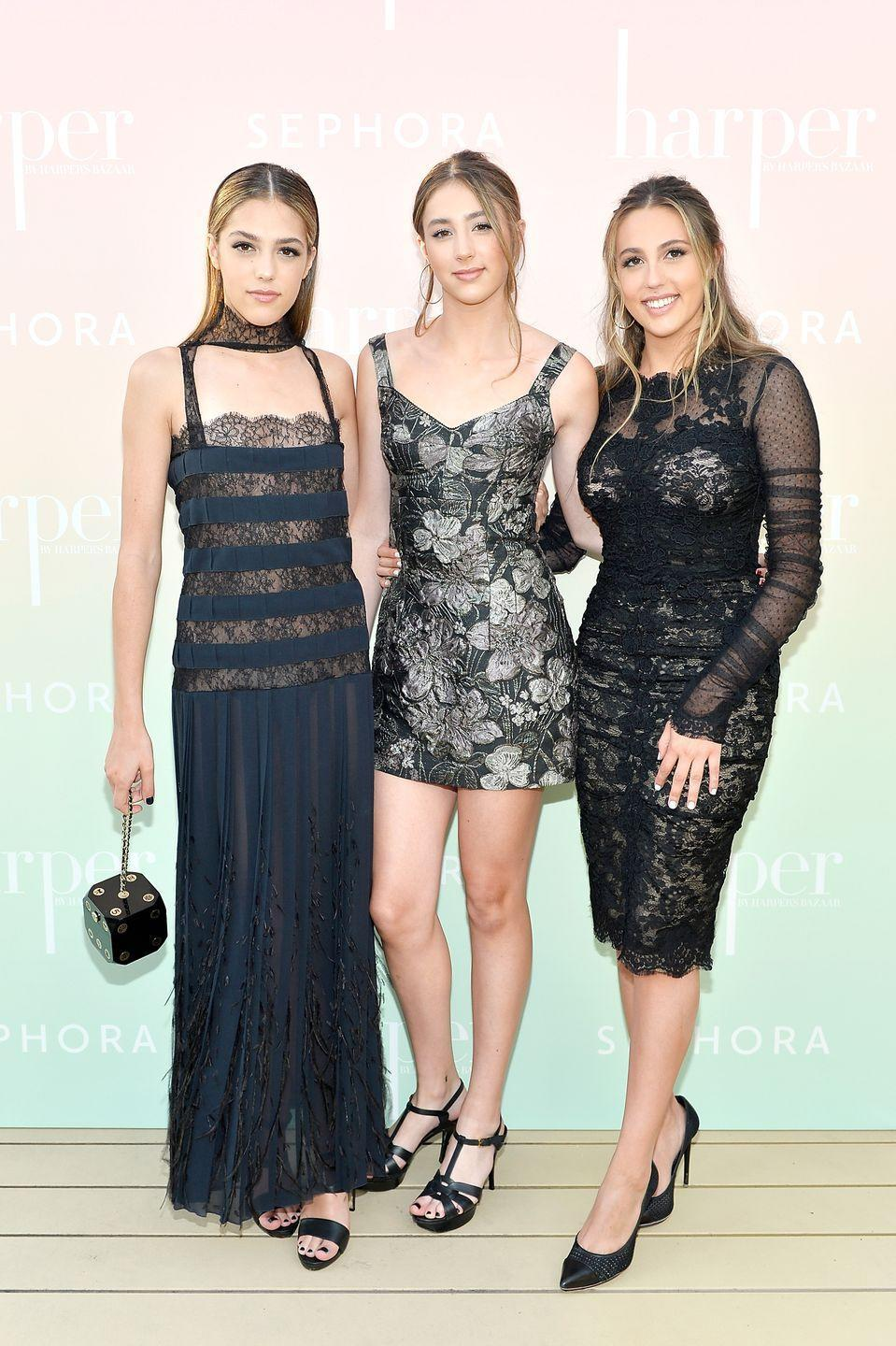 """<p>Sylvester Stallone and Jennifer Flavin's three daughters <a href=""""https://www.townandcountrymag.com/society/a22561070/modern-swan-2018-sistine-stallone/"""" rel=""""nofollow noopener"""" target=""""_blank"""" data-ylk=""""slk:Sistine"""" class=""""link rapid-noclick-resp"""">Sistine</a>, 20, Scarlet, 16, and Sophia, 22, have made names for themselves after they were presented with the 2017 Miss Golden Globe honor— as a trio. </p>"""