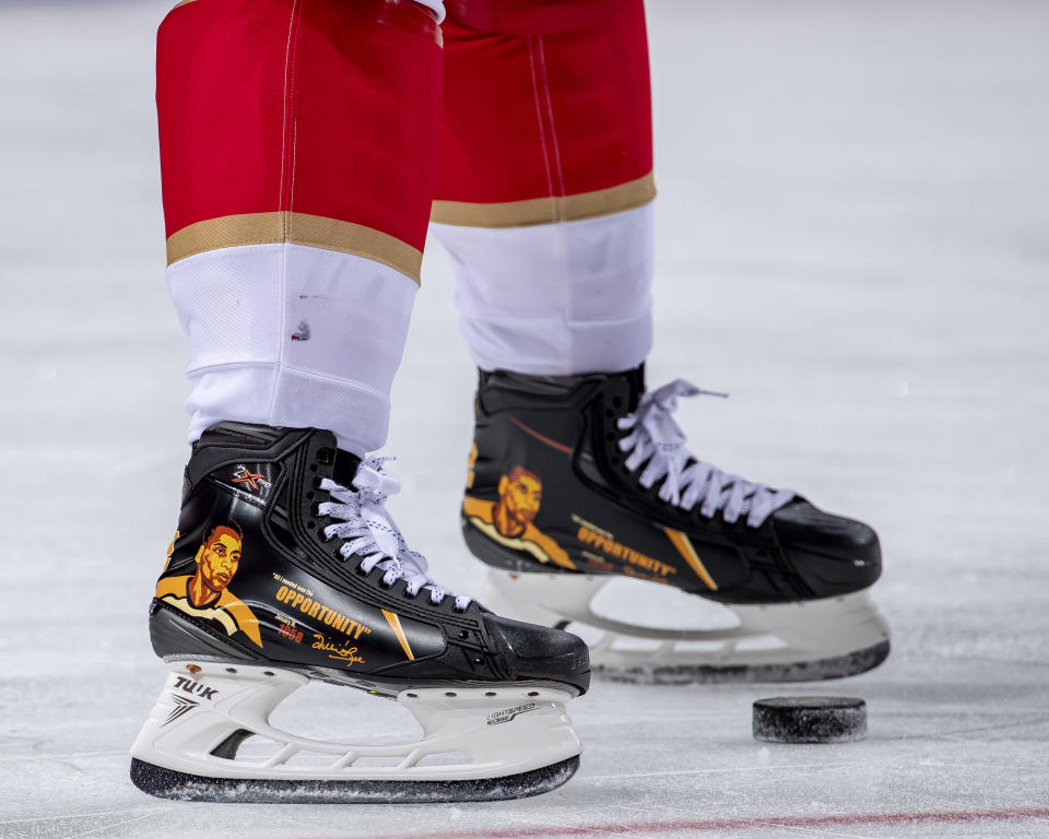 DETROIT, MI - FEBRUARY 19: Anthony Duclair #91 of the Florida Panthers wears commemorative skates in honor of Willie ORee for Black History Month during warmups before an NHL game against the Detroit Red Wings at Little Caesars Arena on February 19, 2021 in Detroit, Michigan. (Photo by Dave Reginek/NHLI via Getty Images)