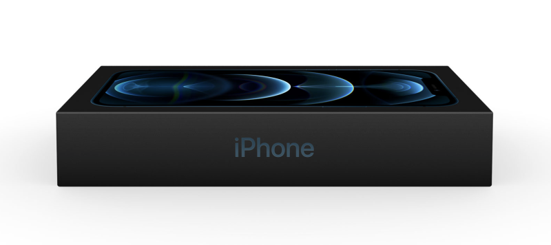 Pictured is the new, slimmer, Apple iPhone 12 box.