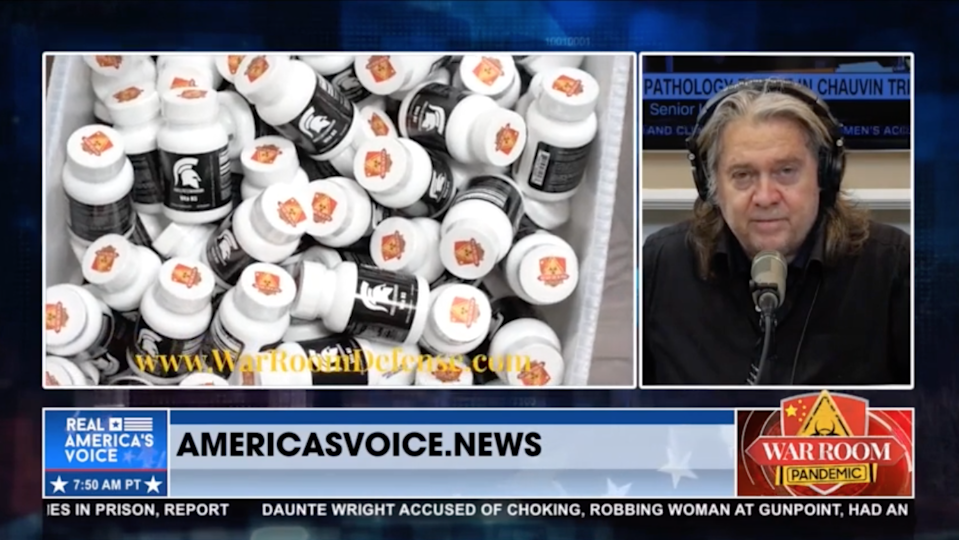 Steve Bannon promoting the War Room Defense Pack by Wellness Warrior on his show War Room Pandemic on 14 April 2021 (War Room)