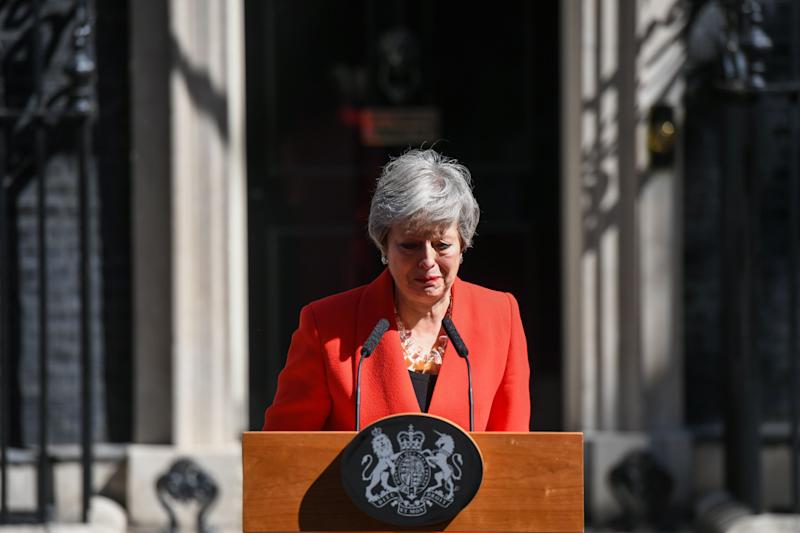 Theresa May, U.K. prime minister, reacts as she delivers a speech announcing her resignation outside number 10 Downing Street in London, U.K., on Friday, May 24, 2019. May said she will step down on June 7. Photographer: Chris J. Ratcliffe/Bloomberg via Getty Images
