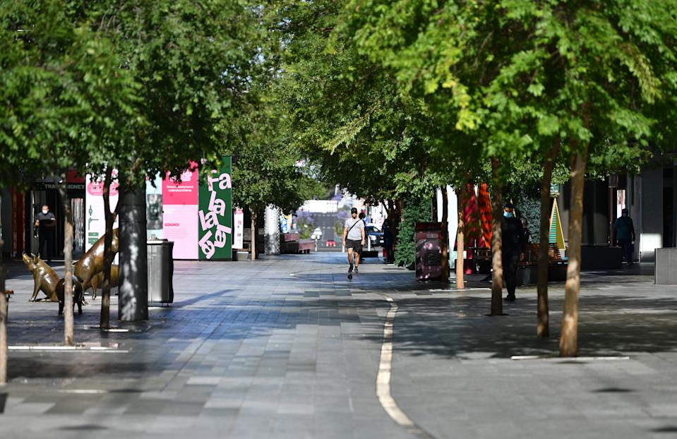 A general view of an empty Rundle Mall on day one of the lockdown in Adelaide, Thursday, November 19, 2020.