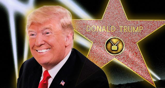 Donald Trump and his Hollywood Walk of Fame star. (Photo illustration: Yahoo News; photos: AP, Robyn Beck/AFP/Getty Images, Getty Images)