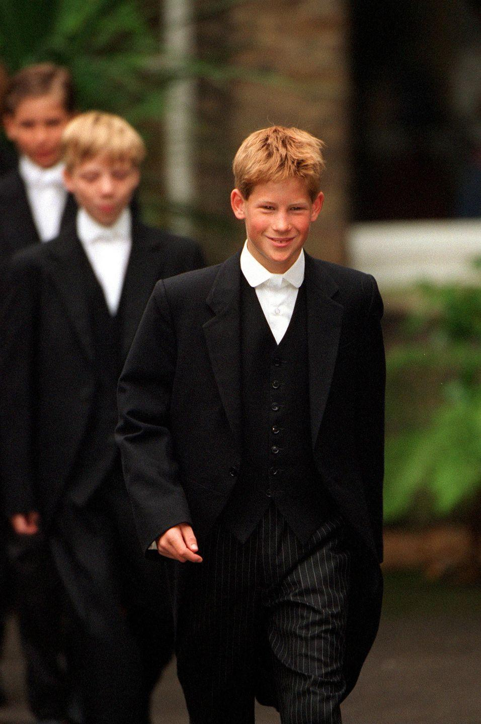 <p>Just a couple of years after his brother William, on September 2, 1998, Prince Harry joined the ranks at Eton College. Dressed in the same famous uniform, Harry smiled happily in the pictures, despite losing his mother just a year before.</p>