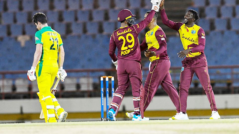 Hayden Walsh Jr, pictured here after the dismissal of Moises Henriques in the second T20 between Australia and West Indies.