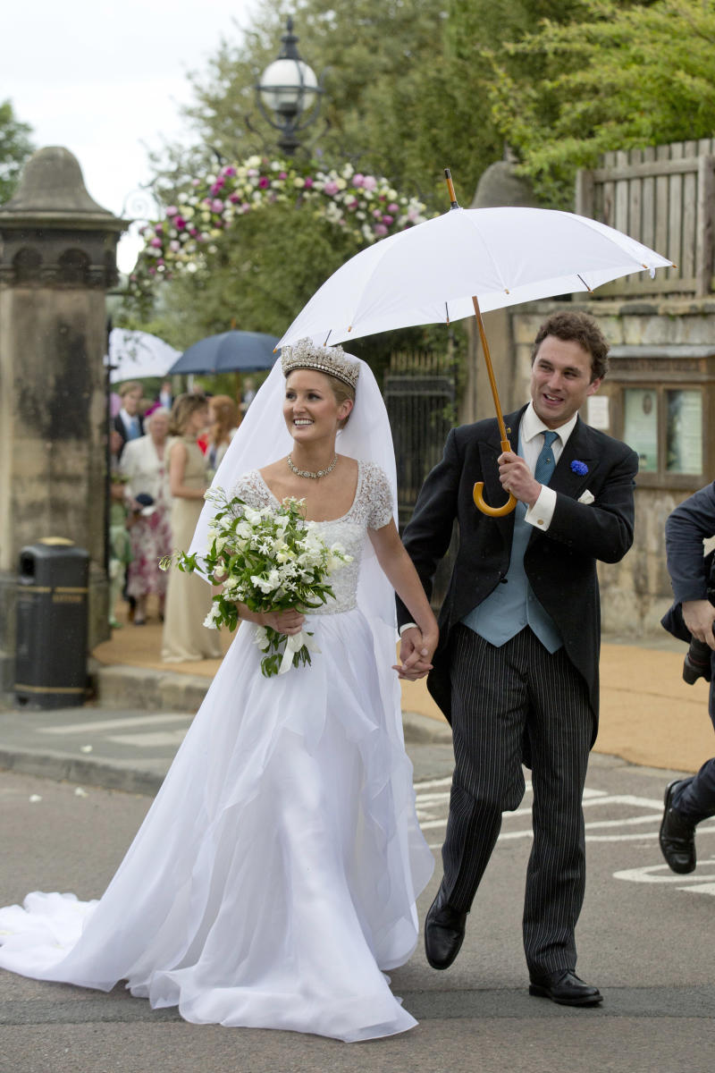 Lady Melissa Percy and Thomas van Straubenzee after their Wedding at St Michael's Church on June 22, 2013 in Alnwick, England.