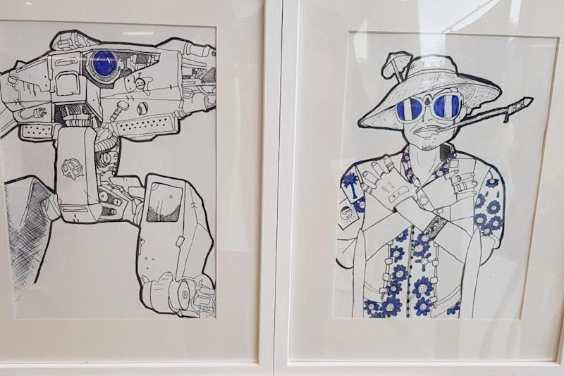Two of Jamal's drawings, which were exhibited at the Living Centre in north London