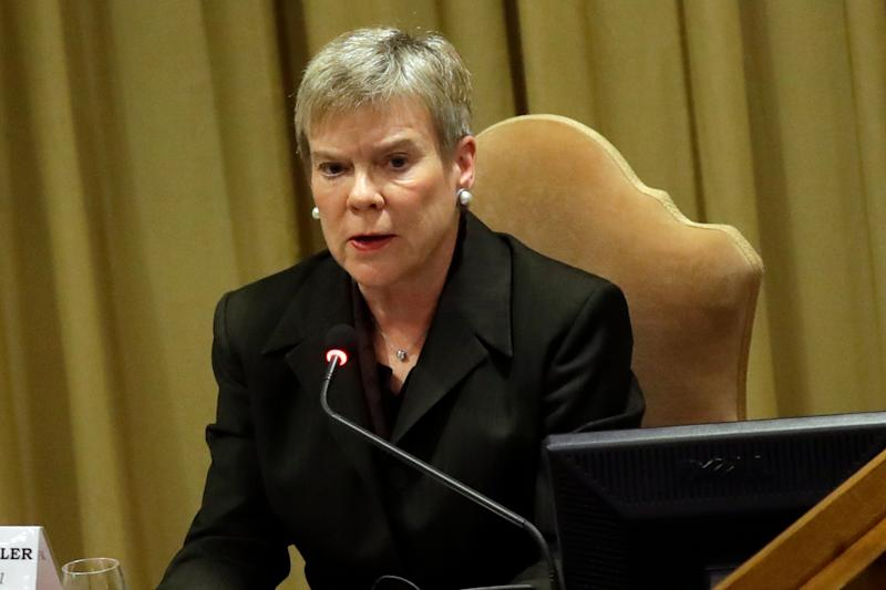 Rose Gottemoeller speaks at a conference on nuclear disarmament in 2017.