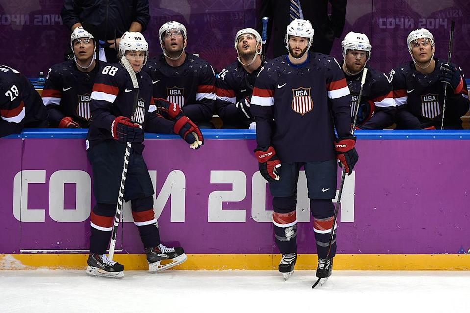 SOCHI, RUSSIA – FEBRUARY 22: Patrick Kane #88 and Ryan Kesler #17 of the United States look on during a stoppage in the first period against Finland during the Men's Ice Hockey Bronze Medal Game on Day 15 of the 2014 Sochi Winter Olympics at Bolshoy Ice Dome on February 22, 2014 in Sochi, Russia. (Photo by Lars Baron/Getty Images)