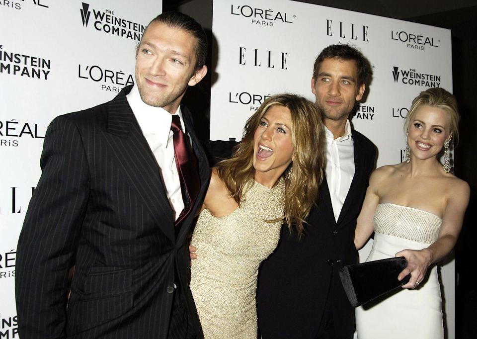 """<p>In 2005, Aniston starred in <a href=""""https://www.imdb.com/title/tt0398017/"""" rel=""""nofollow noopener"""" target=""""_blank"""" data-ylk=""""slk:Derailed"""" class=""""link rapid-noclick-resp""""><em>Derailed</em></a>, a steamy thriller that co-starred Clive Owen. It was one of Jen's first departures from comedy since <em>Friends</em> took off back in 1994.</p>"""