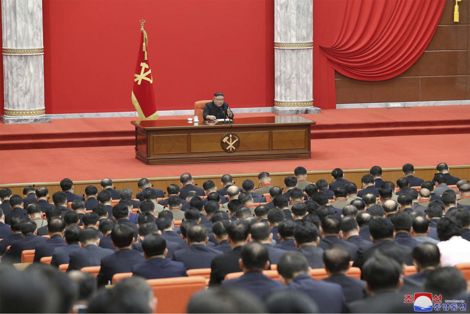"""In this photo provided by the North Korean government, North Korean leader Kim Jong Un attends the ruling party congress in Pyongyang, North Korean, Sunday, Jan. 10, 2021. Kim was given a new title, """"general secretary"""" of the ruling Workers' Party, formerly held by his late father and grandfather, state media reported Monday, Jan. 11, in what appears to a symbolic move aimed at bolstering his authority amid growing economic challenges. Independent journalists were not given access to cover the event depicted in this image distributed by the North Korean government. The content of this image is as provided and cannot be independently verified. Korean language watermark on image as provided by source reads: """"KCNA"""" which is the abbreviation for Korean Central News Agency. (Korean Central News Agency/Korea News Service via AP)"""