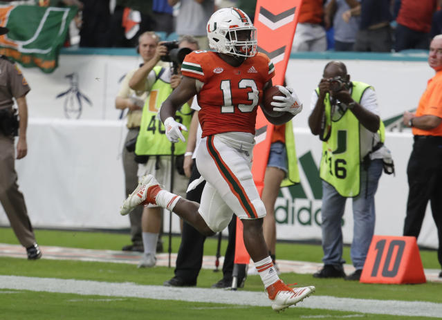 Miami running back DeeJay Dallas could be in line for a big year in 2019. (AP Photo/Lynne Sladky)