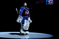 Colorado Avalanche goaltender Philipp Grubauer stands on the ice during player introductions before the team's NHL hockey game against the Los Angeles Kings on Wednesday, May 12, 2021, in Denver. (AP Photo/Jack Dempsey)