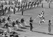 """<p>The opening ceremony of the Paralympics are shown here in 1964. The tradition of the <a href=""""https://olympics.com/ioc/ipc"""" rel=""""nofollow noopener"""" target=""""_blank"""" data-ylk=""""slk:Paralympics began in 1960"""" class=""""link rapid-noclick-resp"""">Paralympics began in 1960</a> and would take place after the conclusion of the Olympics in the same host country and arenas as the Olympic games. The games would also include many of the same traditions of the opening ceremonies, such as the Parade of Nations. </p>"""
