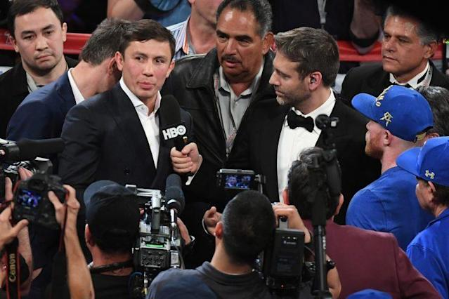 Middleweight champion Gennady Golovkin (L), with trainer Abel Sanchez (center), faces Canelo Alvarez on Sept. 16 at T-Mobile Arena in Las Vegas. (Getty Images)