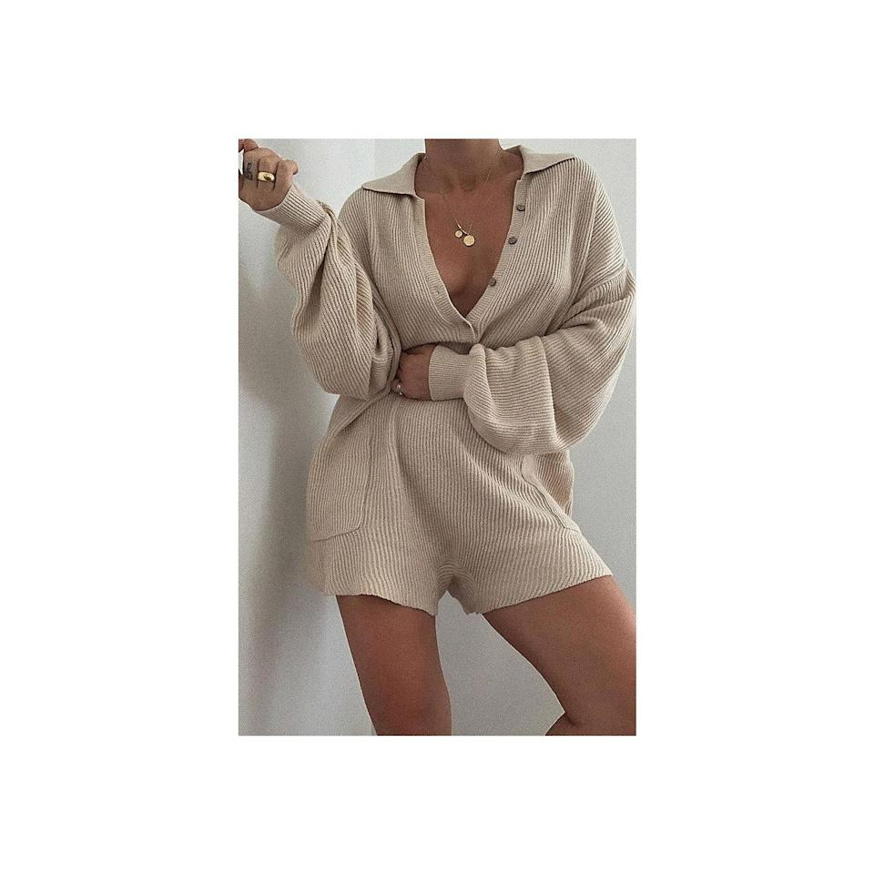 """<p>Free People's Picnic Sweater Romper is the perfect in-between one-piece when it's chilly in the morning and then warm by noon. The ribbed knit fabric is ideal for layering and the collar and button-front give it very suitable for work detailing. It also comes in nine colors. </p> <p><strong>Sizes available:</strong> XS to XL</p> <p><strong>$98</strong> (<a href=""""https://click.linksynergy.com/deeplink?id=MZ9491VLjxM&mid=43177&u1=AllureCozyLoungewear&murl=https%3A%2F%2Fwww.freepeople.com%2Fshop%2Fpicnic-sweater-romper%2F%3F"""" rel=""""nofollow noopener"""" target=""""_blank"""" data-ylk=""""slk:Shop Now"""" class=""""link rapid-noclick-resp"""">Shop Now</a>)</p>"""