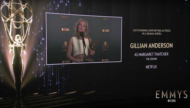 Gillian Anderson immediately after being asked whether she'd spoken to Margaret Thatcher (Photo: Emmys)