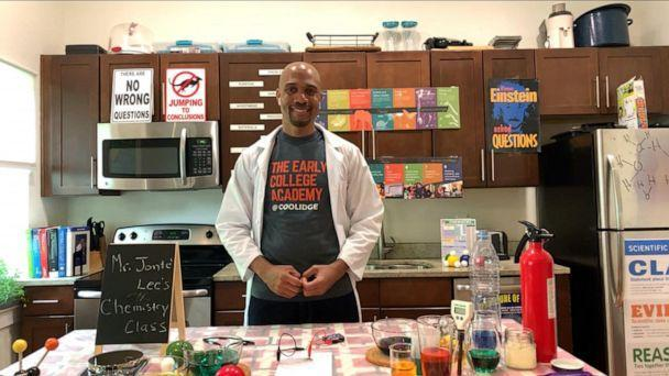 PHOTO: Jonte Lee, a chemistry and physics teacher at Calvin Coolidge High School in Washington, D.C., joined Robin Roberts this morning on ABC's 'Good Morning America' to celebrate Teacher Appreciation Week on May 5, 2020. (ABC News)