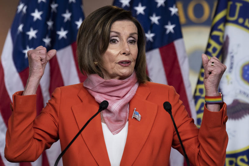 UNITED STATES - APRIL 24: Speaker of the House Nancy Pelosi, D-Calif., conducts a news conference in the Capitol Visitor Center shortly before President Trump signed an additional COVID-19 relief package on Friday, April 24, 2020. (Photo By Tom Williams/CQ-Roll Call, Inc via Getty Images)