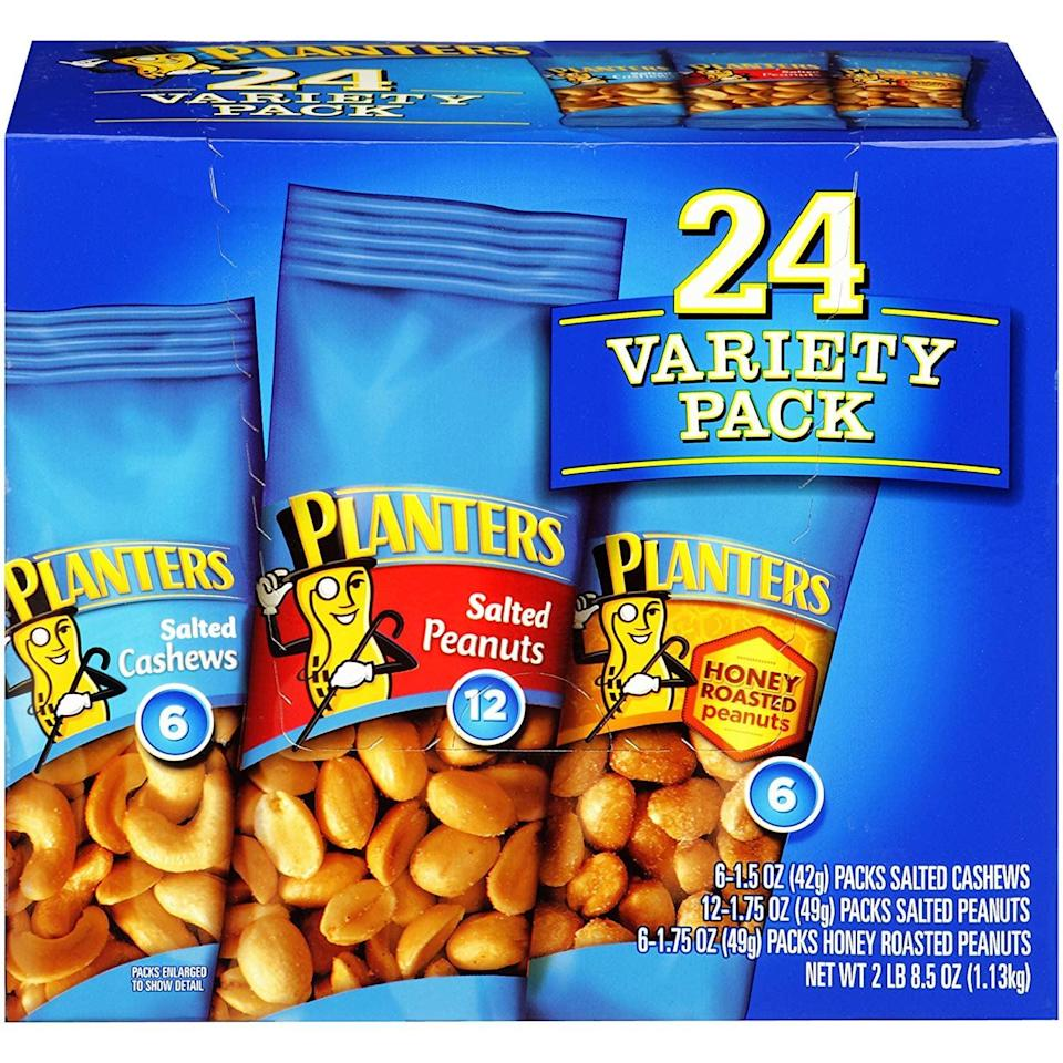 <p>If you like to mix it up, pick this <span>Planters Nuts Variety Pack</span> ($7) so you can have something different every day.</p>