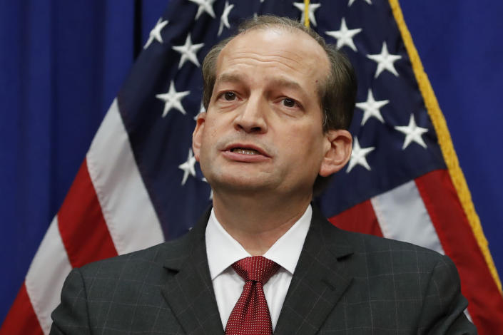 Labor Secretary Alex Acosta speaks during a media availability at the Department of Labor, Wednesday, July 10, 2019, in Washington. (AP Photo/Alex Brandon)