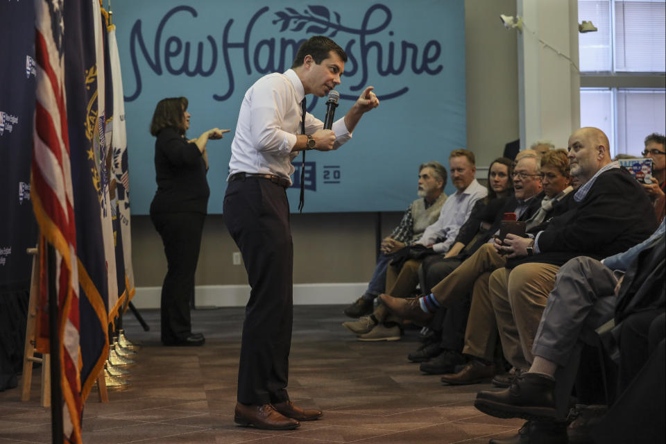 Democratic presidential candidate South Bend, Ind., Mayor Pete Buttigieg speaks during a campaign event Thursday, Dec. 5, 2019, at New England College in Henniker, N.H. (AP Photo/ Cheryl Senter)