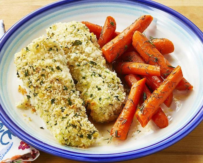 """<p>Revisiting childhood favorites is always going to be comforting. These fresh homemade fish sticks will remind you of that! </p><p><a href=""""https://www.thepioneerwoman.com/food-cooking/recipes/a36041349/parmesan-fish-sticks-with-glazed-carrots-recipe/"""" rel=""""nofollow noopener"""" target=""""_blank"""" data-ylk=""""slk:Get the recipe."""" class=""""link rapid-noclick-resp""""><strong>Get the recipe.</strong></a></p>"""