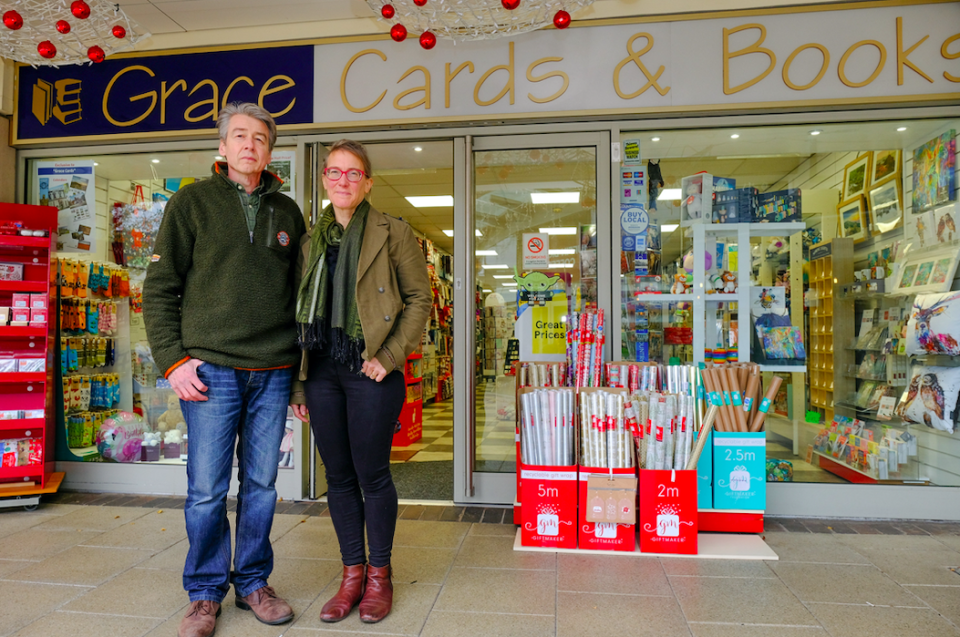 Alasdair and Lydia Walker-Cox said Grace Cards and Books in Droitwich, Worcs. sold essential items including newspapers, snacks and baking products. (SWNS)