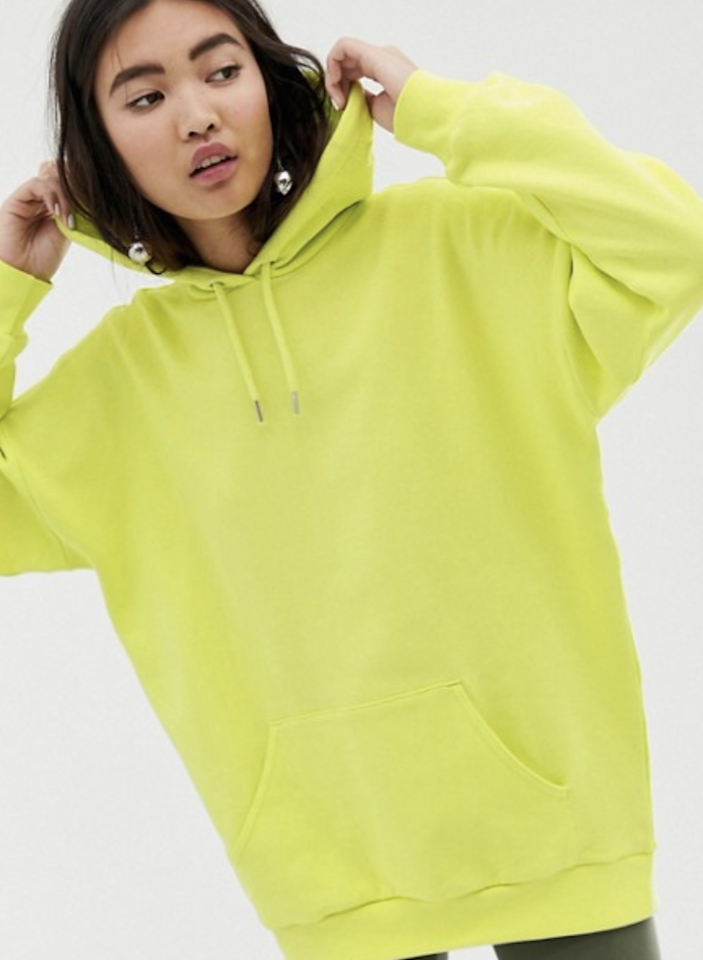 "$35, ASOS. <a rel=""nofollow"" href=""https://www.asos.com/monki/monki-oversized-oversized-hoodie-in-lime-green/prd/11465760?clr=green&SearchQuery=lime%20green&gridcolumn=2&gridrow=1&gridsize=4&pge=1&pgesize=72&totalstyles=11"">Get it now!</a>"
