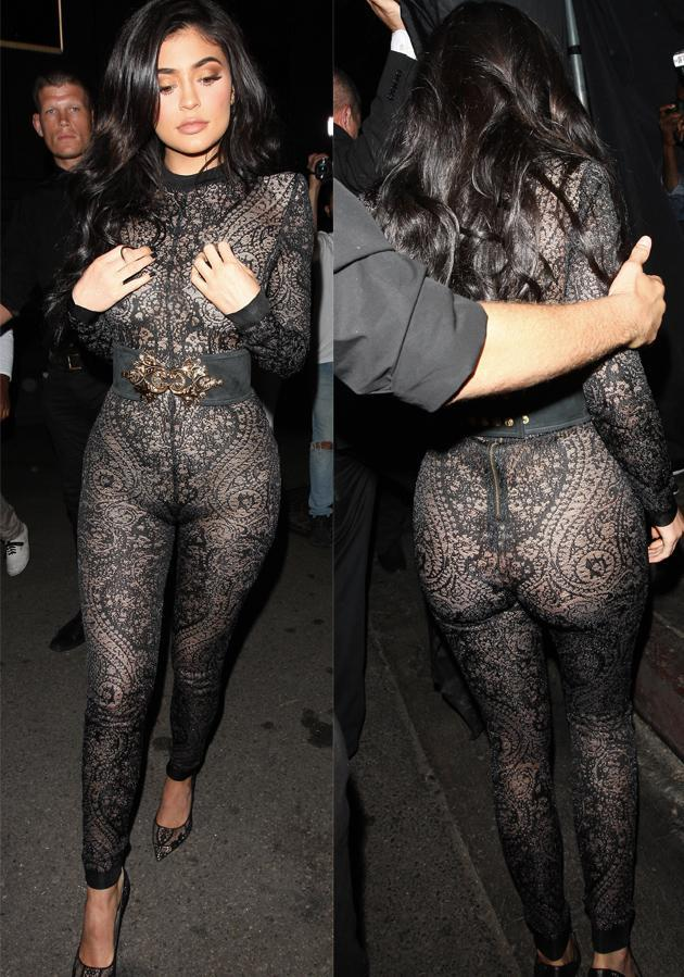 <p>Kylie Jenner celebrated her 19th birthday in this daring, sheer, black-lace jumpsuit that put her signature curves on display.</p>