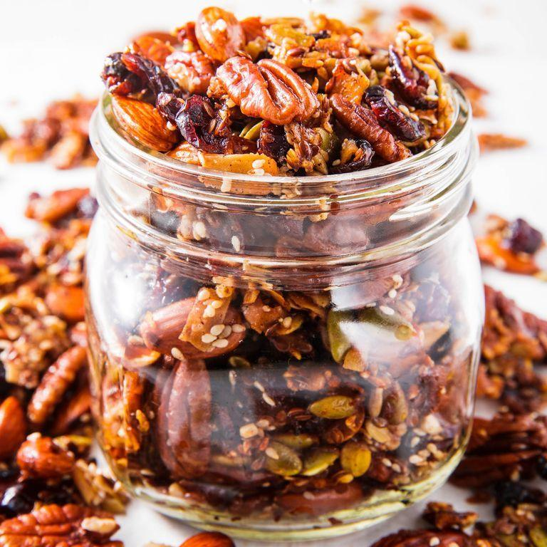 "<p>This paleo granola will give you a carb fix without the grains.</p><p>Get the <a href=""https://www.delish.com/uk/cooking/recipes/a29945305/paleo-granola-recipe/"" target=""_blank"">Paleo Granola</a> recipe. </p>"