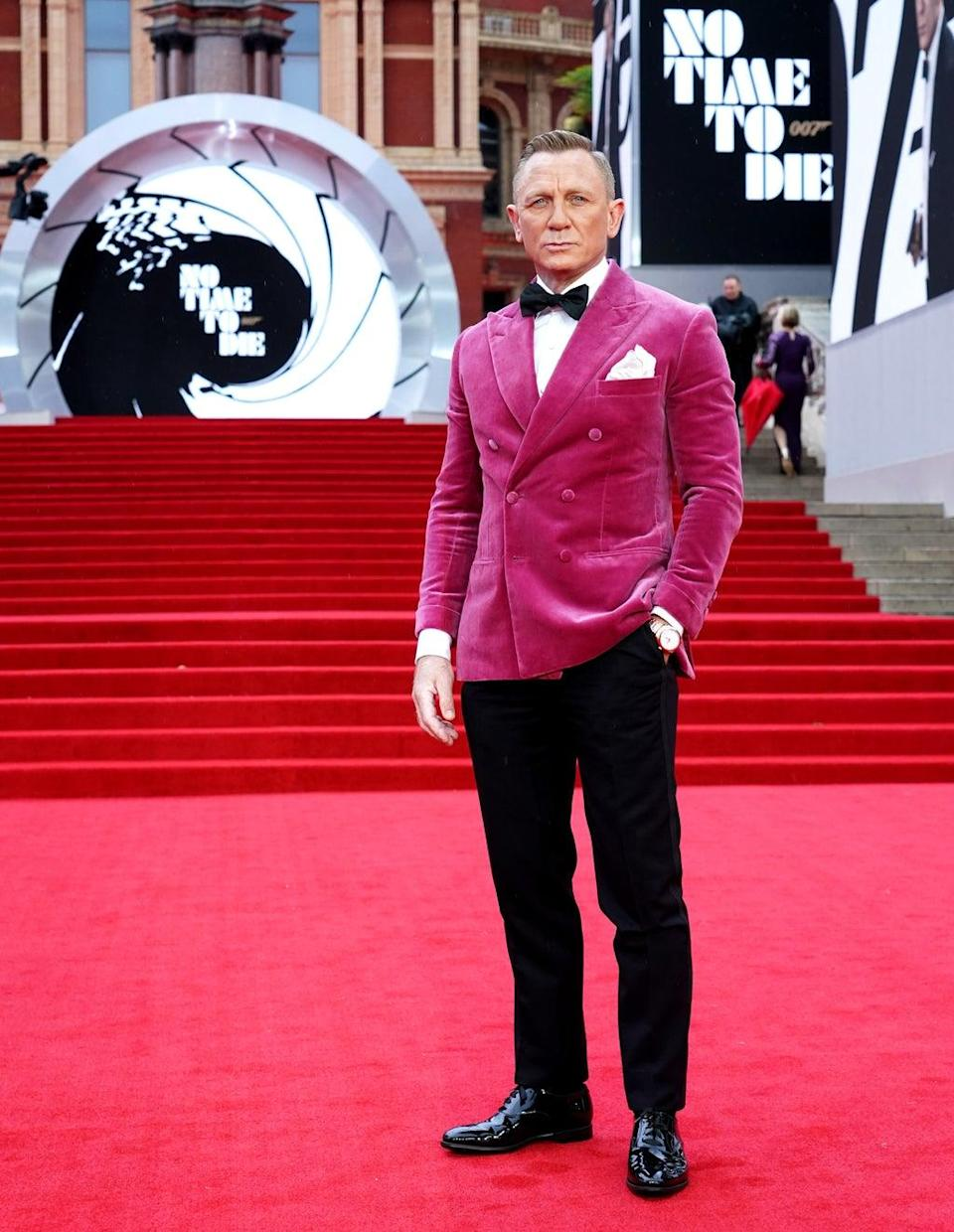 Daniel Craig turned heads at the red carpet premiere of his James Bond swansong (Ian West/PA) (PA Wire)
