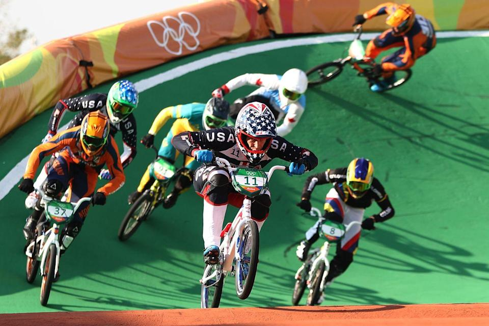"""<p><a href=""""https://www.cbc.ca/cbckids/olympics/rio2016/blog/olympics-weirdest-rules"""" rel=""""nofollow noopener"""" target=""""_blank"""" data-ylk=""""slk:BMX athletes"""" class=""""link rapid-noclick-resp"""">BMX athletes</a> are required to tuck in their shirts — even if it is to matching pants. </p>"""