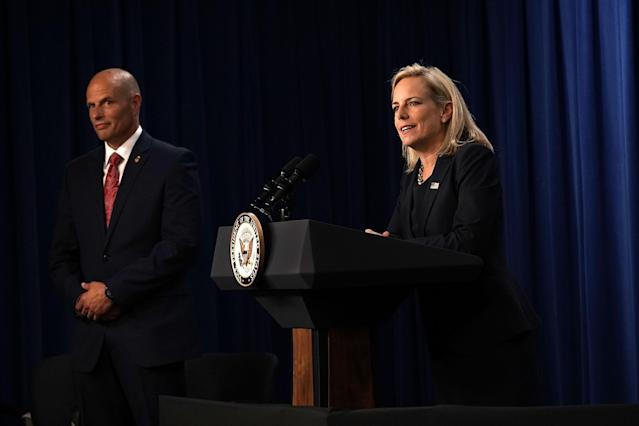 U.S. Homeland Security Secretary Kirstjen Nielsen with ICE acting Director Ronald D. Vitiello. (Photo: Alex Wong/Getty Images)