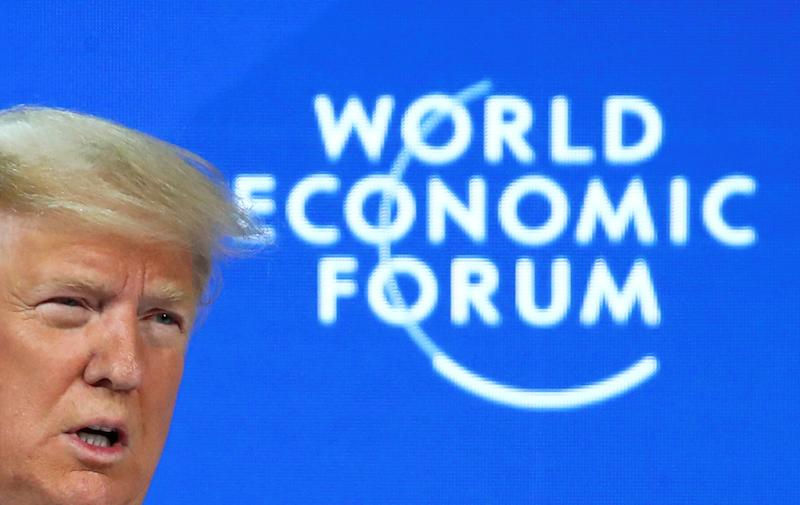 U.S. President Donald Trump delivers a speech during the 50th World Economic Forum (WEF) annual meeting in Davos, Switzerland, January 21, 2020. REUTERS/Denis Balibouse
