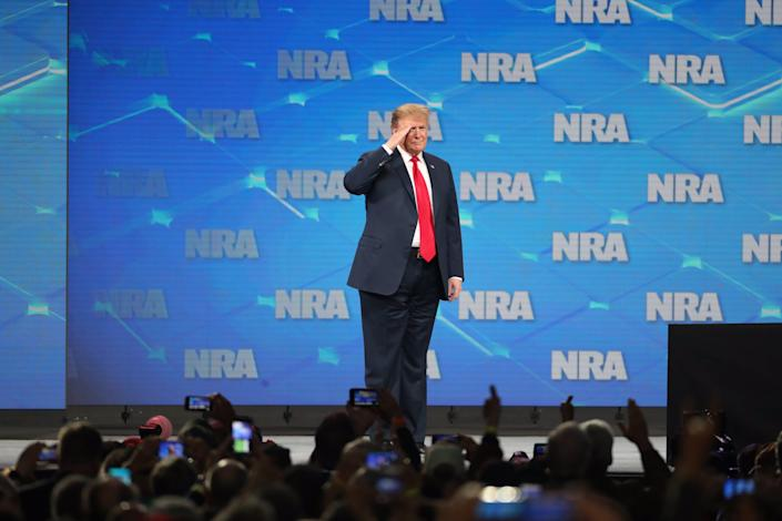 President Donald Trump at the National Rifle Association Institute for Legislative Action Leadership Forum in Indianapolis in 2019.