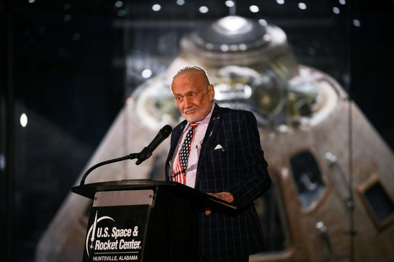 "An image from the ""Tintin"" comic ""Explorers on the Moon,"" signed by former NASA astronaut Buzz Aldrin (pictured July 2019), was sold for triple the auction house's estimate"