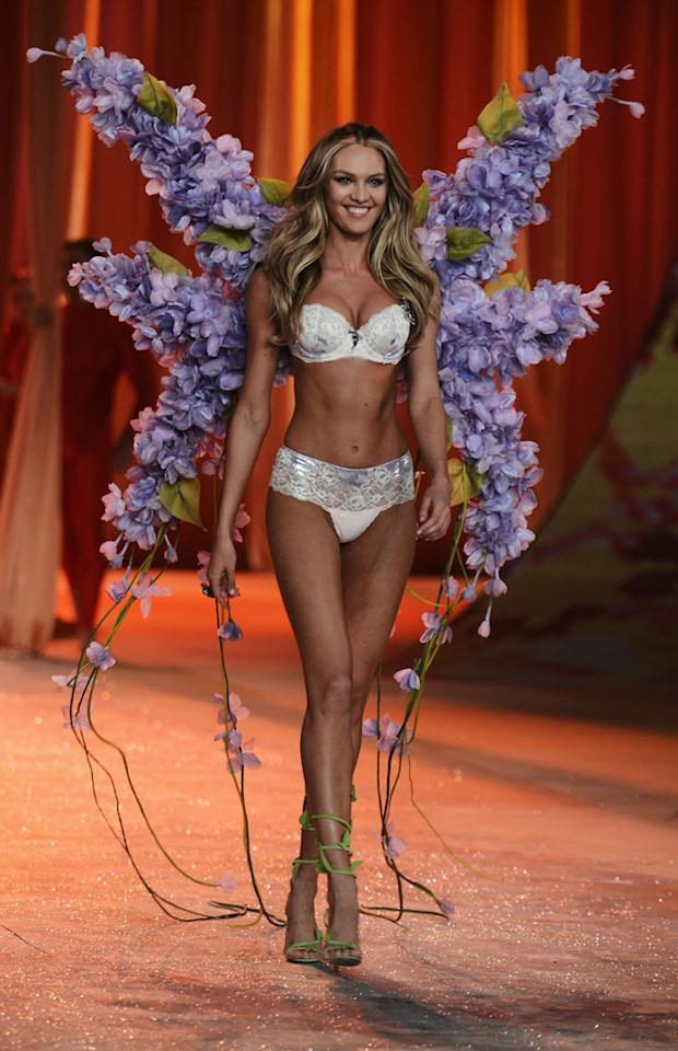 Victoria's Secret Angel Candice Swanepoel walks the runway during the 2012 Victoria's Secret Fashion Show at the Lexington Avenue Armory on November 7, 2012 in New York City.