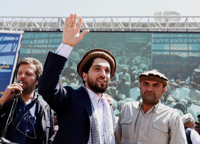 FILE PHOTO: Ahmad Massoud, son of the slain hero of the anti-Soviet resistance Ahmad Shah Massoud, waves as he arrives to attend a new political movement in Bazarak