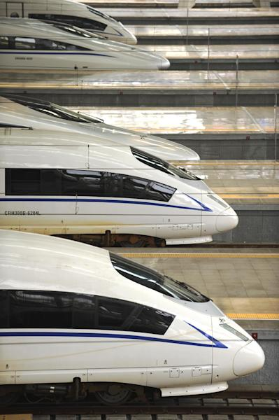 Bullet trains line up at Beijing south railway station. Mexico's high-speed rail project aims to carry 23,000 passengers per day at speeds of up to 300 kilometers (AFP Photo/Peter Parks)