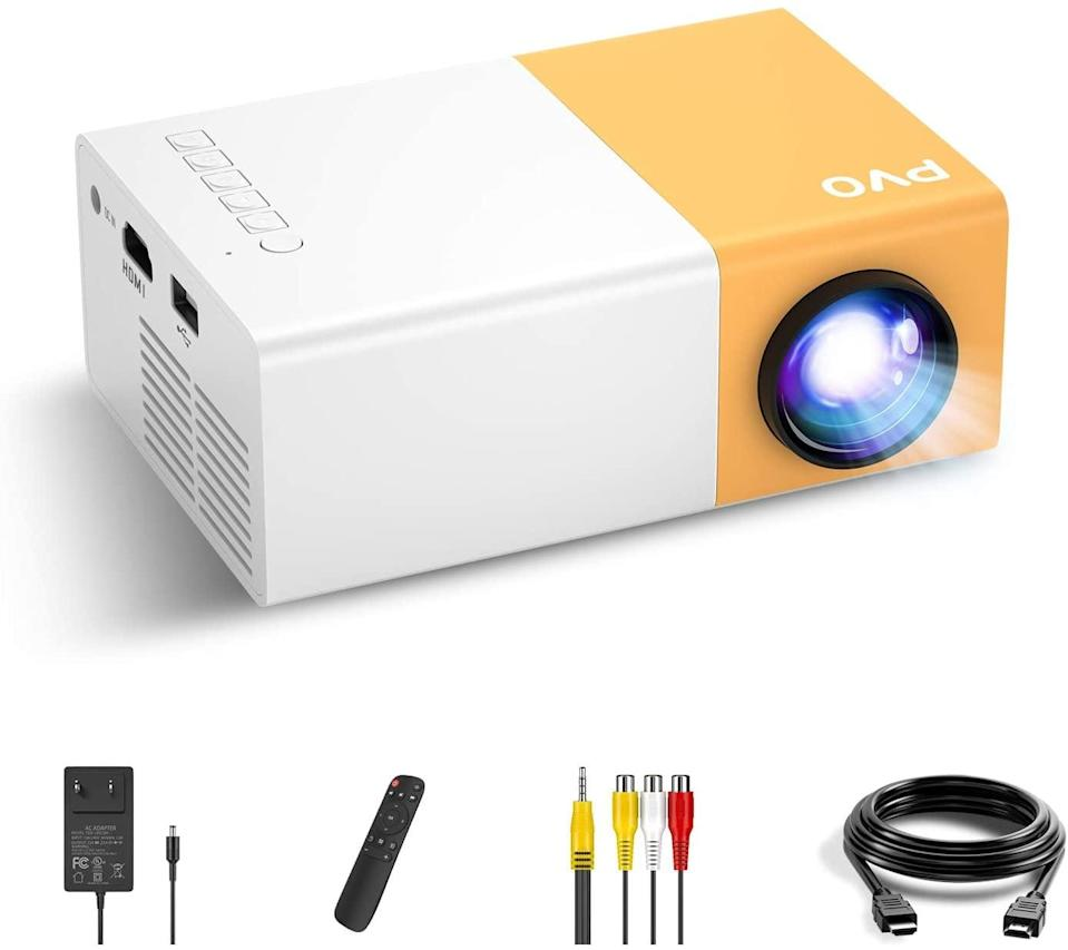 <p>The <span>PVO Portable Projector</span> ($70) can project a maximum of 150 inches. It can be easily connected to multiple media devices, such as TV boxes, laptops, desktop computers, digital cameras, and HDMI-enabled devices to play video, TV series, photos sharing, and games, etc. The mini portable projector is powered by a power adapter that can also be powered by a phone charger, car charger, or power pack via a micro-USB port.</p>