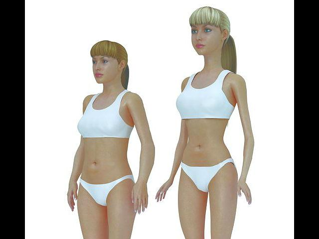 "The measurements for the average woman, depicted at left, are 64.29"" in height, a 33.62"" waist, 14.09"" upper arm length, 14.45"" upper leg length, 20"" head circumference, and a 15"" neck circumference."