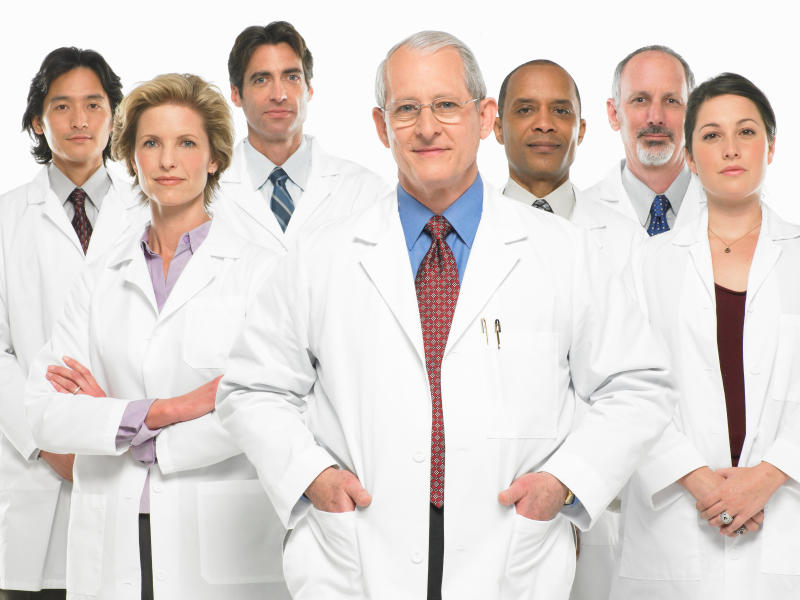 Group of doctors in white lab coats.