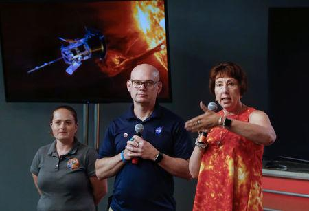 Alex Young, solar scientist at NASA's Goddard Space Flight Center (middle), Nicola Fox, Parker Solar Probe project scientist at Johns Hopkins Applied Physics Laboratory (APL) (right), and Betsy Congdon, Parker Solar Probe Thermal Protection System lead engineer at APL (left), speak during a preview briefing on the NASA's Parker Solar Probe at NASA's Kennedy Space Center in Florida, U.S., July 20, 2018.   REUTERS/Mike Brown