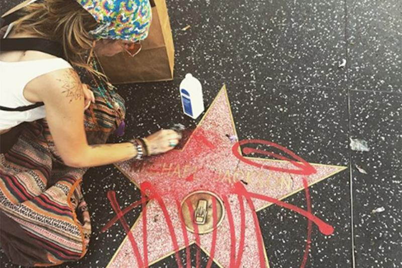 'No respect': Paris Jackson cleans graffiti off her father's Hollywood star: @parisjackson