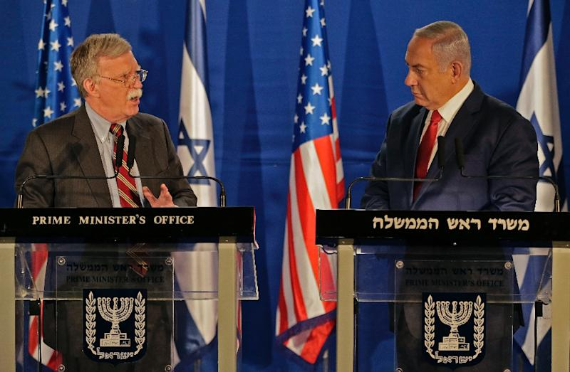Israeli Prime Minister Benjamin Netanyahu (R) with the US National Security Advisor John Bolton, during a statement to the media in Jerusalem on January 6, 2019
